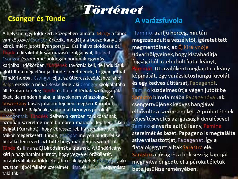 Történet Csongor és Tünde A varázsfuvola Tamino, az ifjú herceg, miután megszabadult a veszélytől, ígéretet tett megmentőinek, az Éj Királynője udvarh