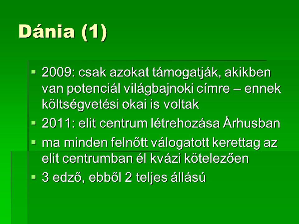 Dánia (1)  2009: csak azokat támogatják, akikben van potenciál világbajnoki címre – ennek költségvetési okai is voltak  2011: elit centrum létrehozása Århusban  ma minden felnőtt válogatott kerettag az elit centrumban él kvázi kötelezően  3 edző, ebből 2 teljes állású