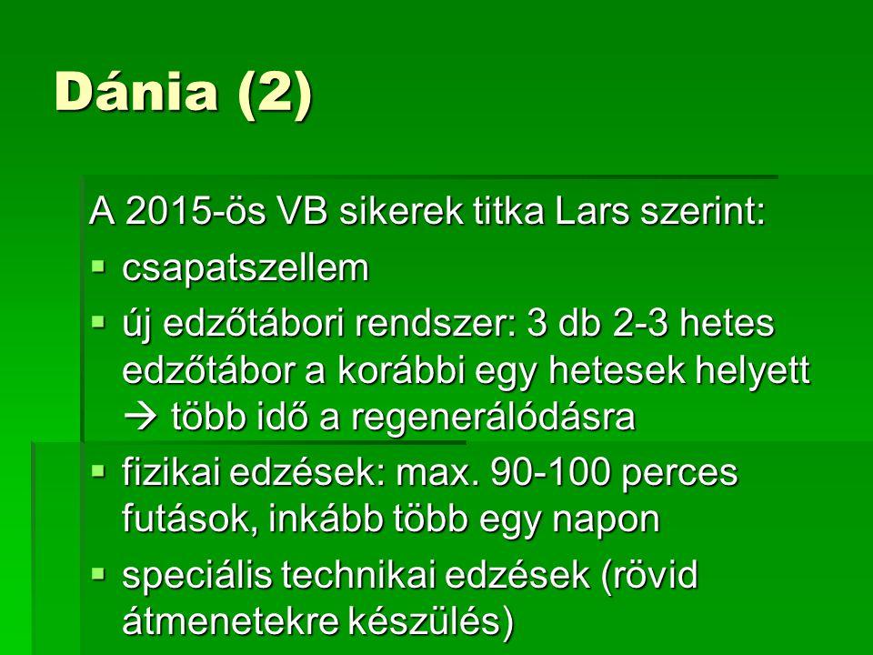 Dánia (2) A 2015-ös VB sikerek titka Lars szerint:  csapatszellem  új edzőtábori rendszer: 3 db 2-3 hetes edzőtábor a korábbi egy hetesek helyett  több idő a regenerálódásra  fizikai edzések: max.