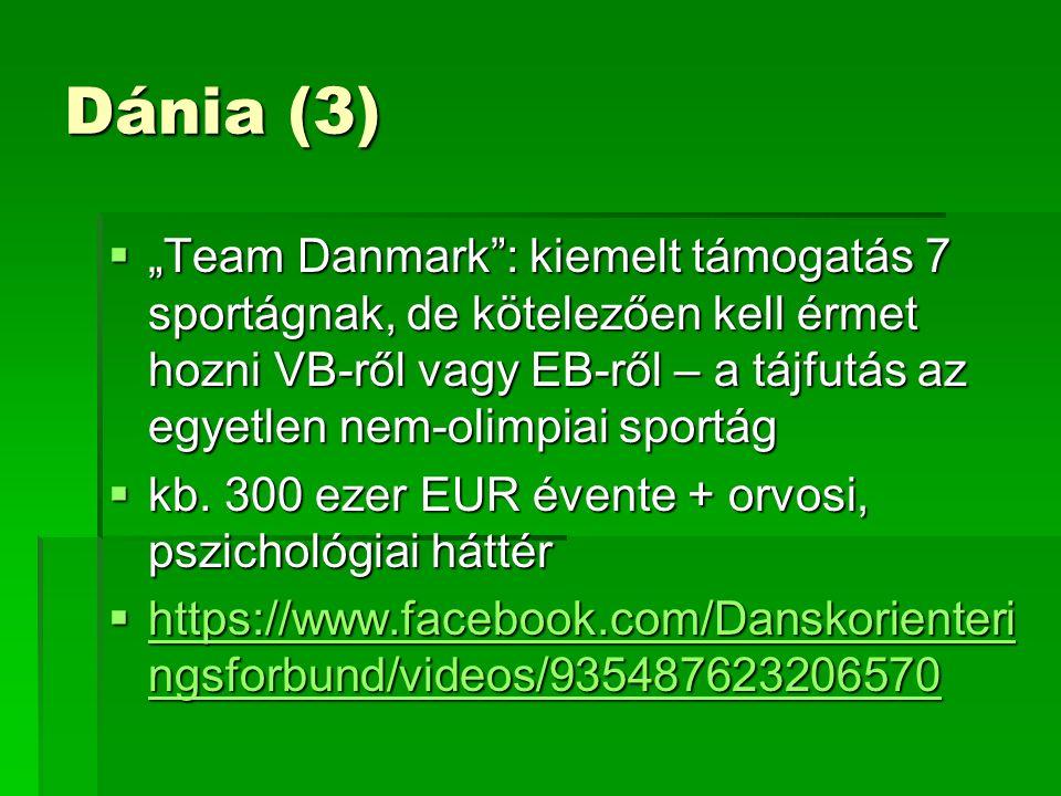 """Dánia (3)  """"Team Danmark : kiemelt támogatás 7 sportágnak, de kötelezően kell érmet hozni VB-ről vagy EB-ről – a tájfutás az egyetlen nem-olimpiai sportág  kb."""