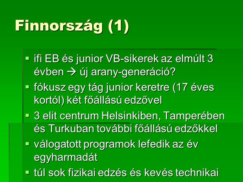 Finnország (1)  ifi EB és junior VB-sikerek az elmúlt 3 évben  új arany-generáció.