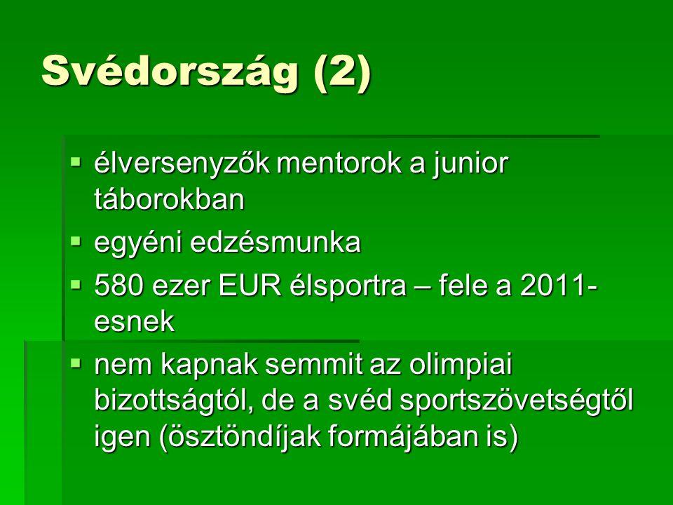 Svédország (2)  élversenyzők mentorok a junior táborokban  egyéni edzésmunka  580 ezer EUR élsportra – fele a 2011- esnek  nem kapnak semmit az olimpiai bizottságtól, de a svéd sportszövetségtől igen (ösztöndíjak formájában is)