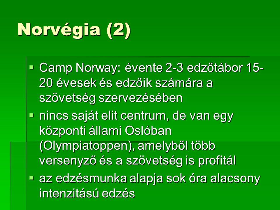Norvégia (2)  Camp Norway: évente 2-3 edzőtábor 15- 20 évesek és edzőik számára a szövetség szervezésében  nincs saját elit centrum, de van egy központi állami Oslóban (Olympiatoppen), amelyből több versenyző és a szövetség is profitál  az edzésmunka alapja sok óra alacsony intenzitású edzés