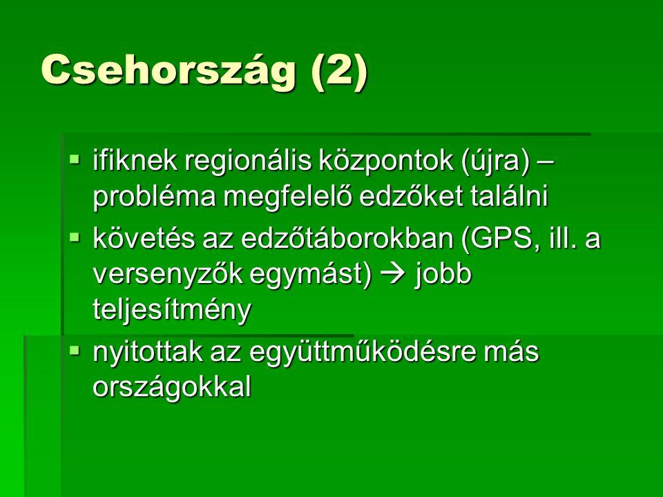 Csehország (2)  ifiknek regionális központok (újra) – probléma megfelelő edzőket találni  követés az edzőtáborokban (GPS, ill.