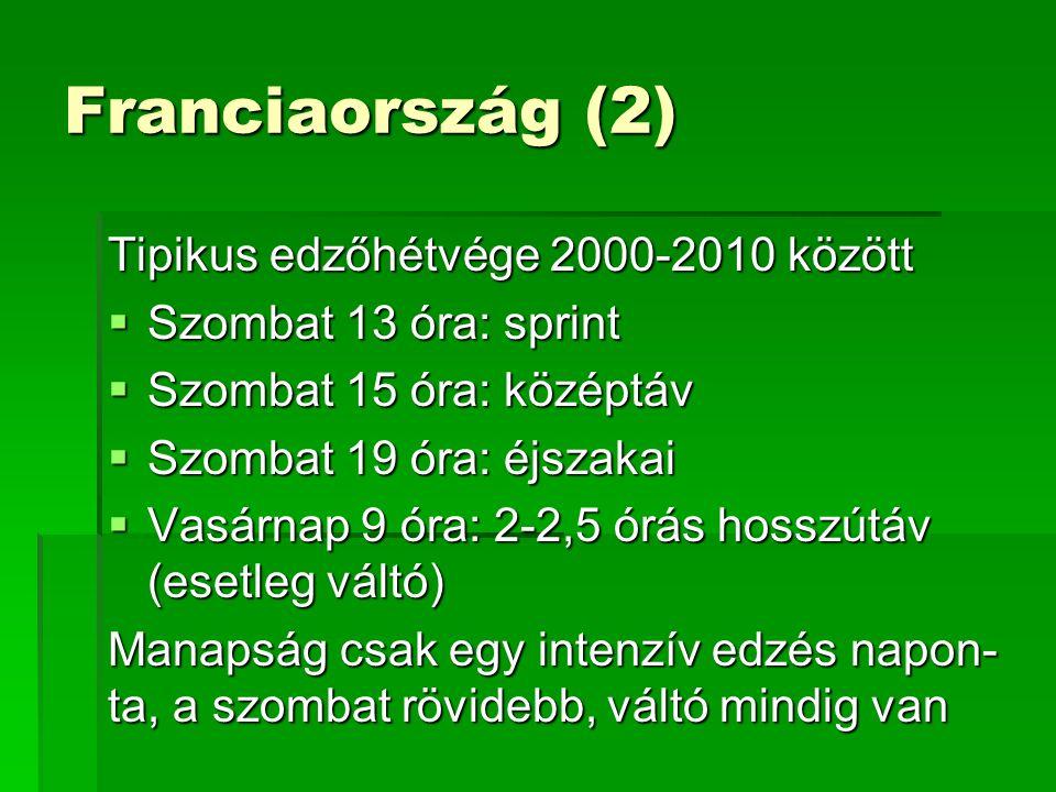 Franciaország (2) Tipikus edzőhétvége 2000-2010 között  Szombat 13 óra: sprint  Szombat 15 óra: középtáv  Szombat 19 óra: éjszakai  Vasárnap 9 óra: 2-2,5 órás hosszútáv (esetleg váltó) Manapság csak egy intenzív edzés napon- ta, a szombat rövidebb, váltó mindig van