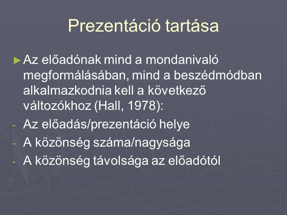 Prezentáció tartása ► ► Az előadónak mind a mondanivaló megformálásában, mind a beszédmódban alkalmazkodnia kell a következő változókhoz (Hall, 1978): - - Az előadás/prezentáció helye - - A közönség száma/nagysága - - A közönség távolsága az előadótól