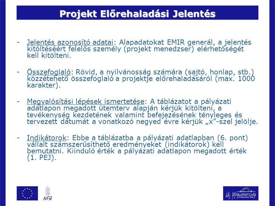 Projekt Előrehaladási Jelentés -Jelentés azonosító adatai: Alapadatokat EMIR generál, a jelentés kitöltéséért felelős személy (projekt menedzser) elérhetőségét kell kitölteni.