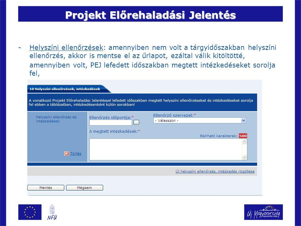 Projekt Előrehaladási Jelentés -Helyszíni ellenőrzések: amennyiben nem volt a tárgyidőszakban helyszíni ellenőrzés, akkor is mentse el az űrlapot, ezá