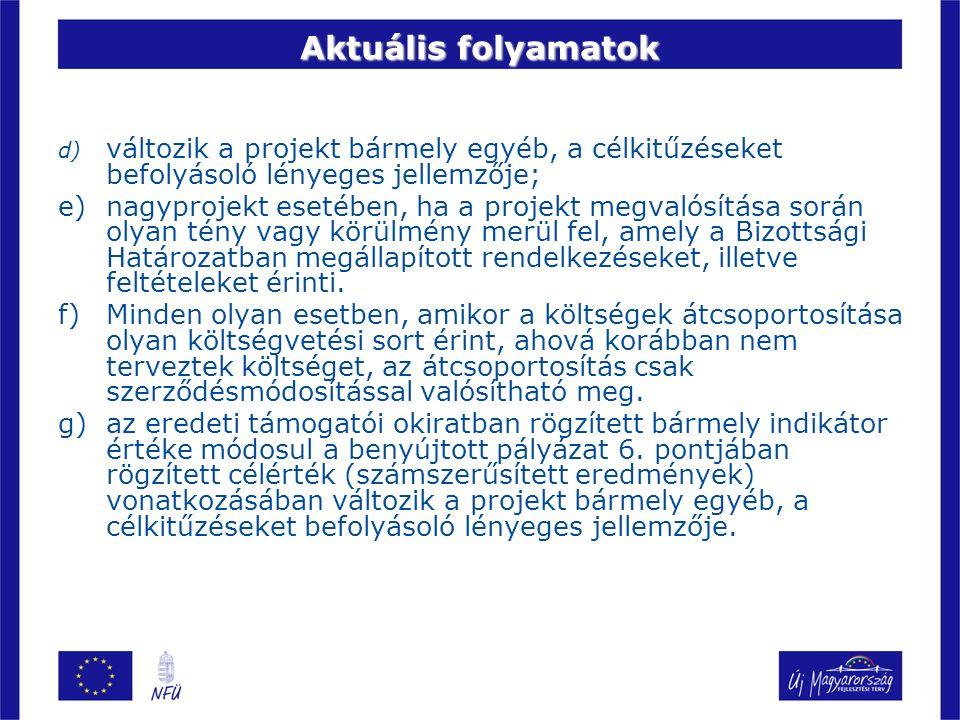 Aktuális folyamatok d) változik a projekt bármely egyéb, a célkitűzéseket befolyásoló lényeges jellemzője; e)nagyprojekt esetében, ha a projekt megval