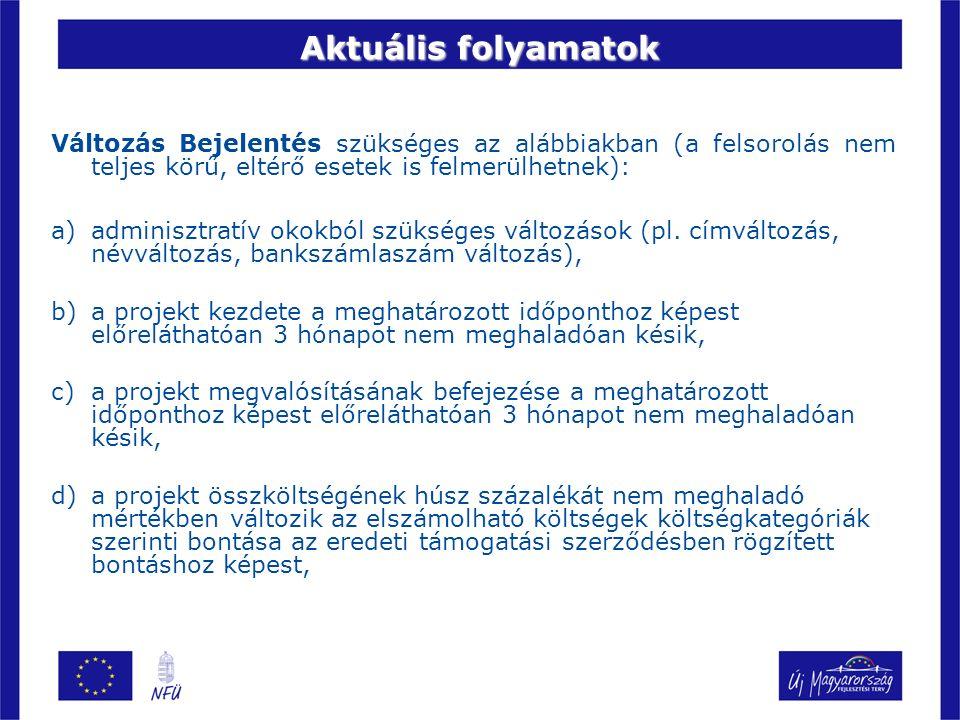 Aktuális folyamatok Változás Bejelentés szükséges az alábbiakban (a felsorolás nem teljes körű, eltérő esetek is felmerülhetnek): a)adminisztratív okokból szükséges változások (pl.