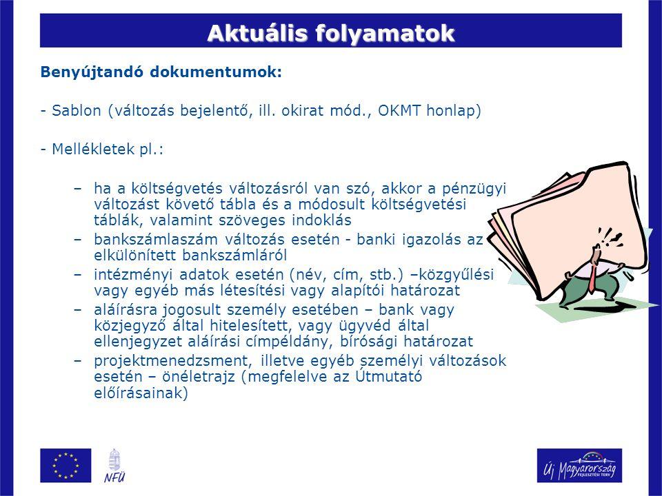 Aktuális folyamatok Benyújtandó dokumentumok: - Sablon (változás bejelentő, ill. okirat mód., OKMT honlap) - Mellékletek pl.: –ha a költségvetés válto