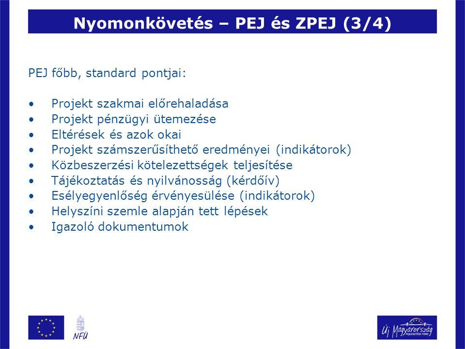 Nyomonkövetés – PEJ és ZPEJ (3/4) PEJ főbb, standard pontjai: Projekt szakmai előrehaladása Projekt pénzügyi ütemezése Eltérések és azok okai Projekt számszerűsíthető eredményei (indikátorok) Közbeszerzési kötelezettségek teljesítése Tájékoztatás és nyilvánosság (kérdőív) Esélyegyenlőség érvényesülése (indikátorok) Helyszíni szemle alapján tett lépések Igazoló dokumentumok