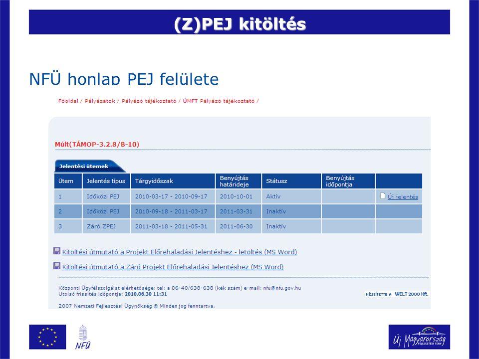 (Z)PEJ kitöltés NFÜ honlap PEJ felülete