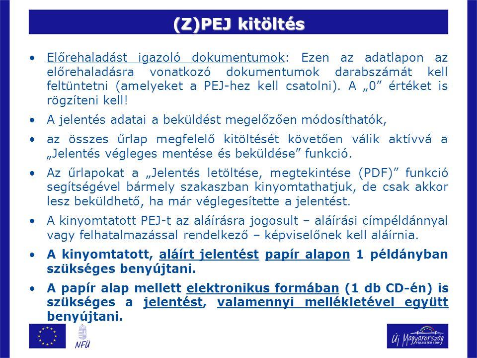 (Z)PEJ kitöltés Előrehaladást igazoló dokumentumok: Ezen az adatlapon az előrehaladásra vonatkozó dokumentumok darabszámát kell feltüntetni (amelyeket a PEJ-hez kell csatolni).