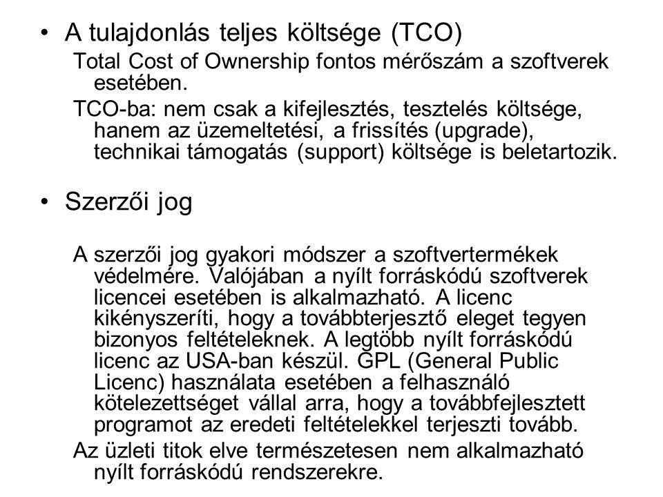 A tulajdonlás teljes költsége (TCO) Total Cost of Ownership fontos mérőszám a szoftverek esetében.