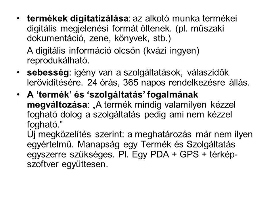 termékek digitatizálása: az alkotó munka termékei digitális megjelenési formát öltenek.