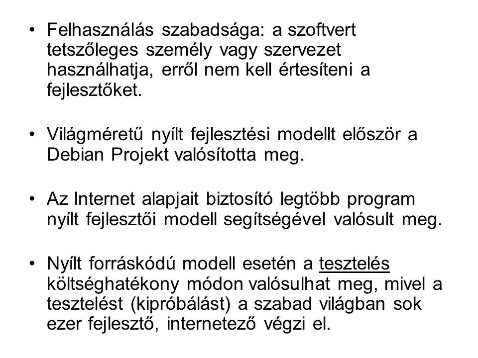 Felhasználás szabadsága: a szoftvert tetszőleges személy vagy szervezet használhatja, erről nem kell értesíteni a fejlesztőket.