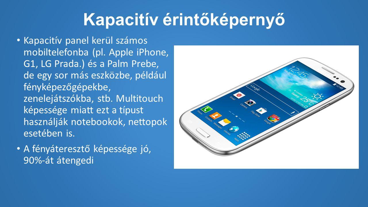 Kapacitív érintőképernyő Kapacitív panel kerül számos mobiltelefonba (pl.