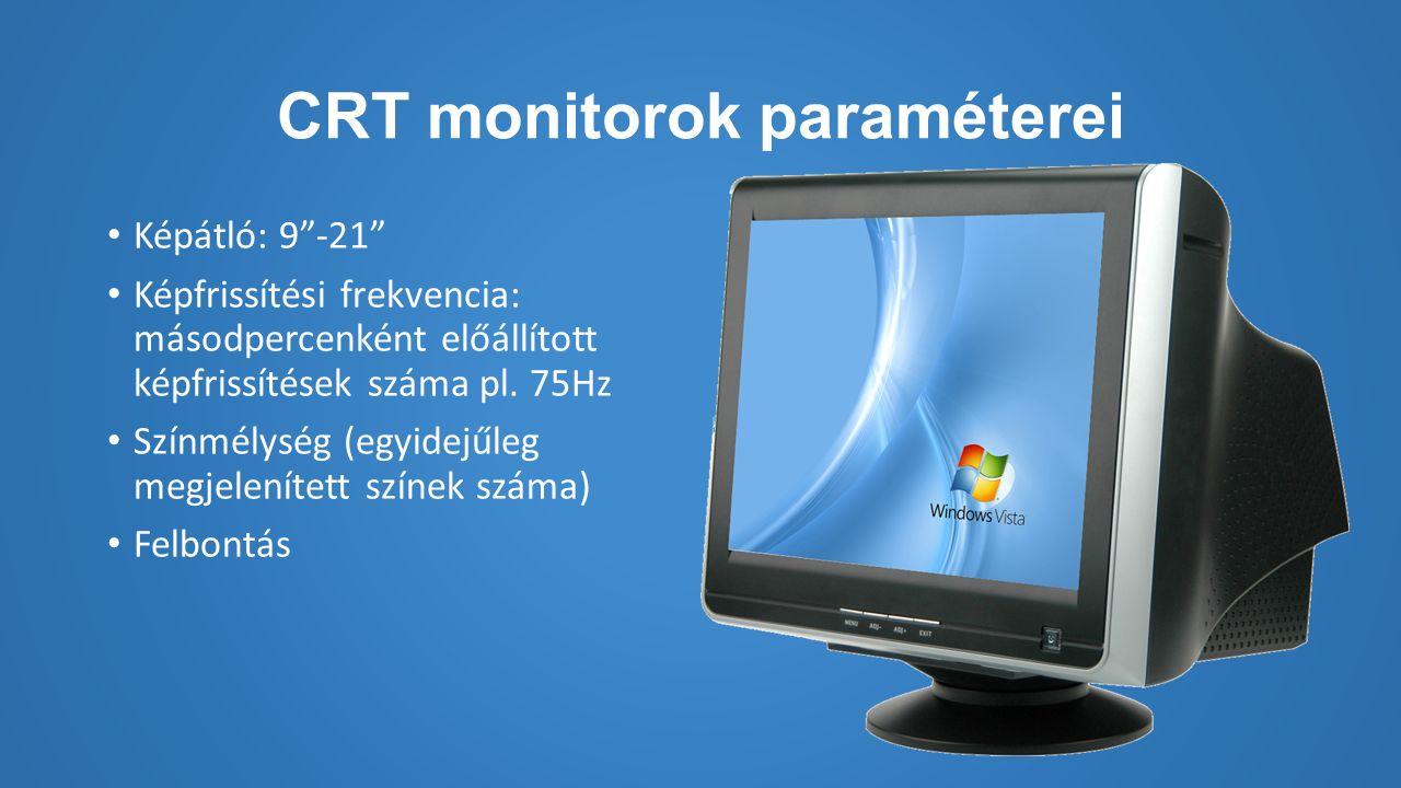 CRT monitorok paraméterei Képátló: 9 -21 Képfrissítési frekvencia: másodpercenként előállított képfrissítések száma pl.