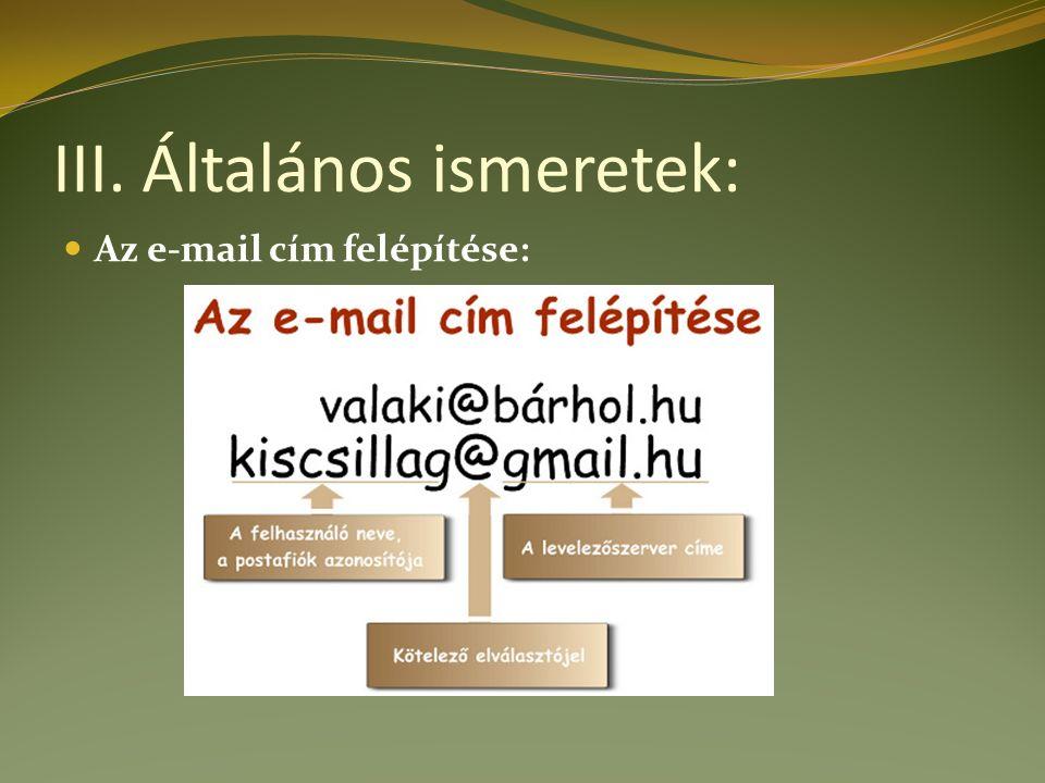 III. Általános ismeretek: Az e-mail cím felépítése: