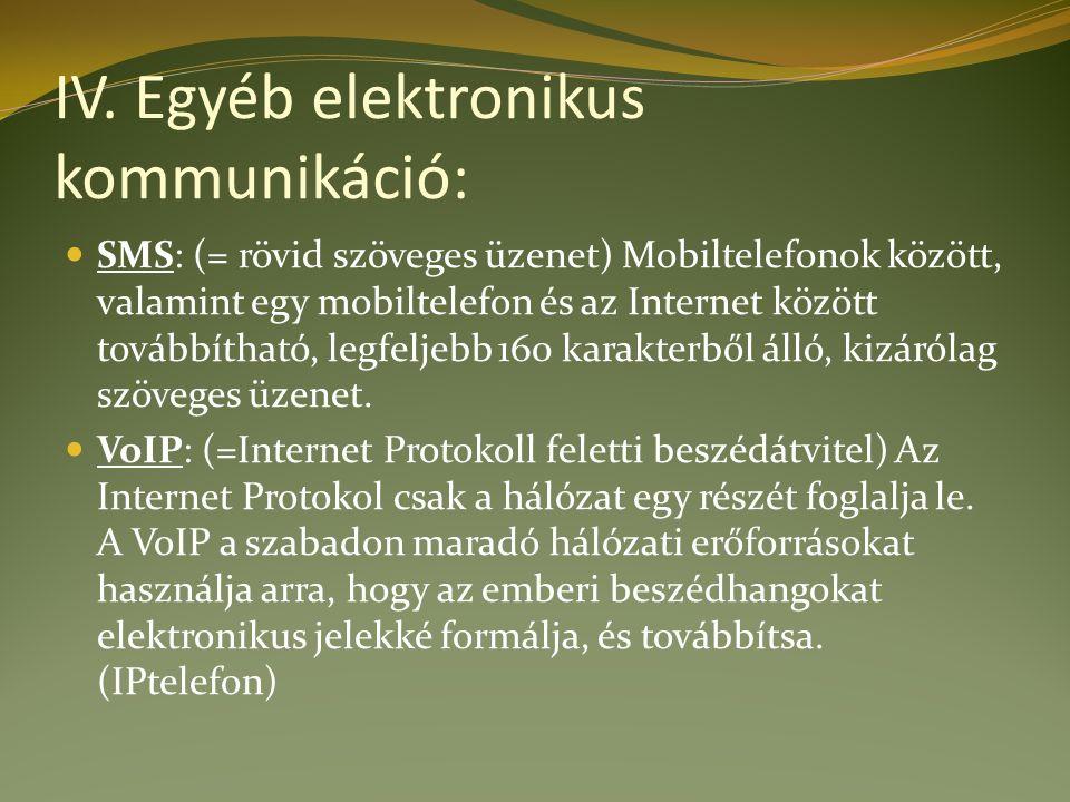IV. Egyéb elektronikus kommunikáció: SMS: (= rövid szöveges üzenet) Mobiltelefonok között, valamint egy mobiltelefon és az Internet között továbbíthat