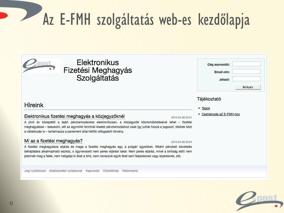 Az E-FMH szolgáltatás web-es kezdőlapja 12