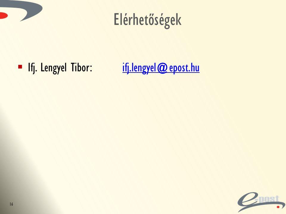 Elérhetőségek 16  Ifj. Lengyel Tibor: ifj.lengyel@epost.huifj.lengyel@epost.hu