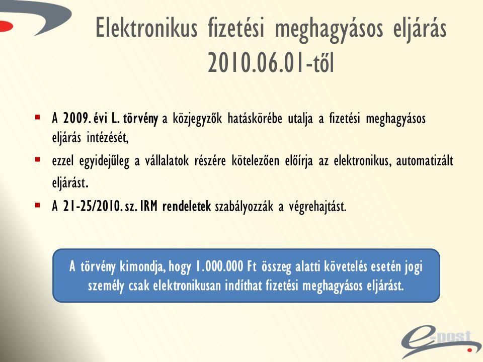 Elektronikus fizetési meghagyásos eljárás 2010.06.01-től  A 2009. évi L. törvény a közjegyzők hatáskörébe utalja a fizetési meghagyásos eljárás intéz