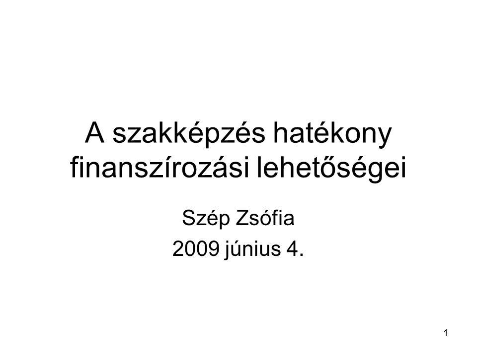 1 A szakképzés hatékony finanszírozási lehetőségei Szép Zsófia 2009 június 4.