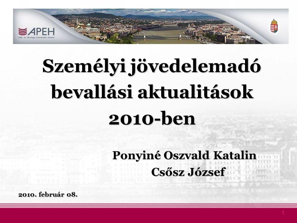 1 Személyi jövedelemadó bevallási aktualitások 2010-ben Ponyiné Oszvald Katalin Ponyiné Oszvald Katalin Csősz József Csősz József 2010. február 08.