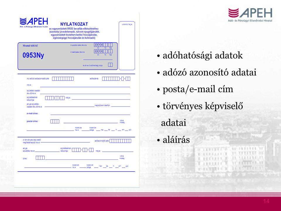 14 adóhatósági adatok adózó azonosító adatai posta/e-mail cím törvényes képviselő adatai aláírás
