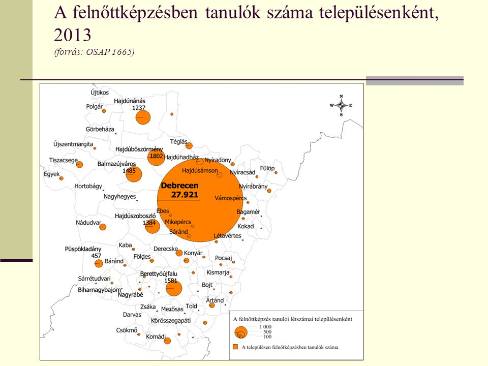 A felnőttképzésben tanulók száma településenként, 2013 (forrás: OSAP 1665)