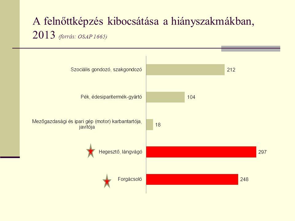 A felnőttképzés kibocsátása a hiányszakmákban, 2013 (forrás: OSAP 1665)