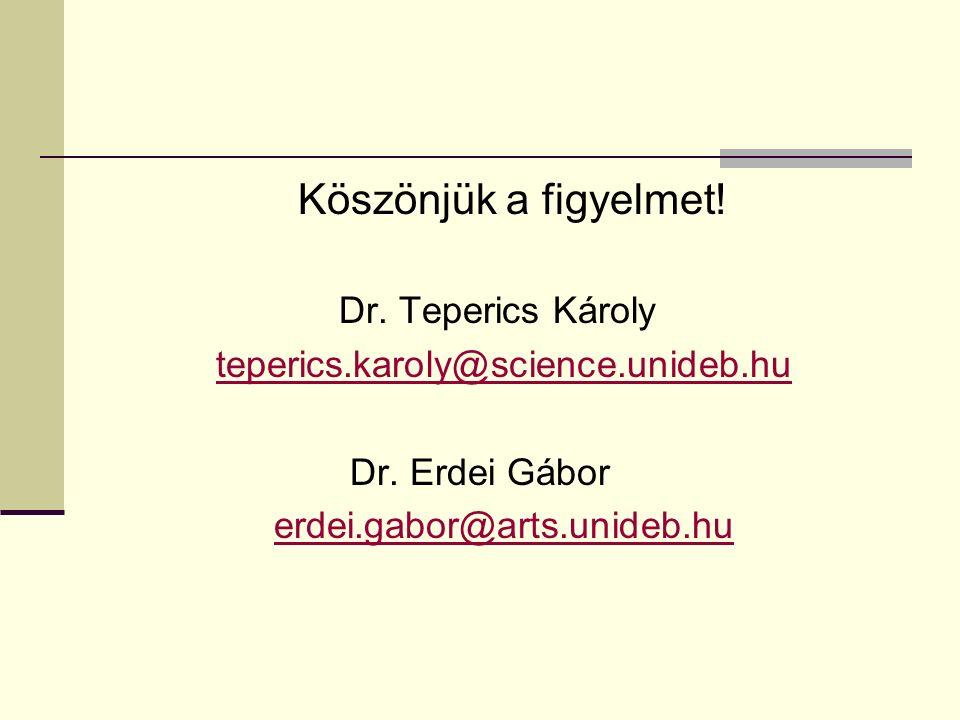 Köszönjük a figyelmet! Dr. Teperics Károly teperics.karoly@science.unideb.hu Dr. Erdei Gábor erdei.gabor@arts.unideb.hu