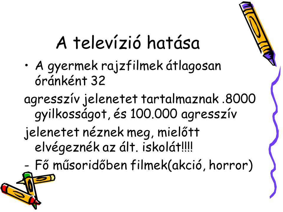A televízió hatása A gyermek rajzfilmek átlagosan óránként 32 agresszív jelenetet tartalmaznak. 8000 gyilkosságot, és 100.000 agresszív jelenetet nézn