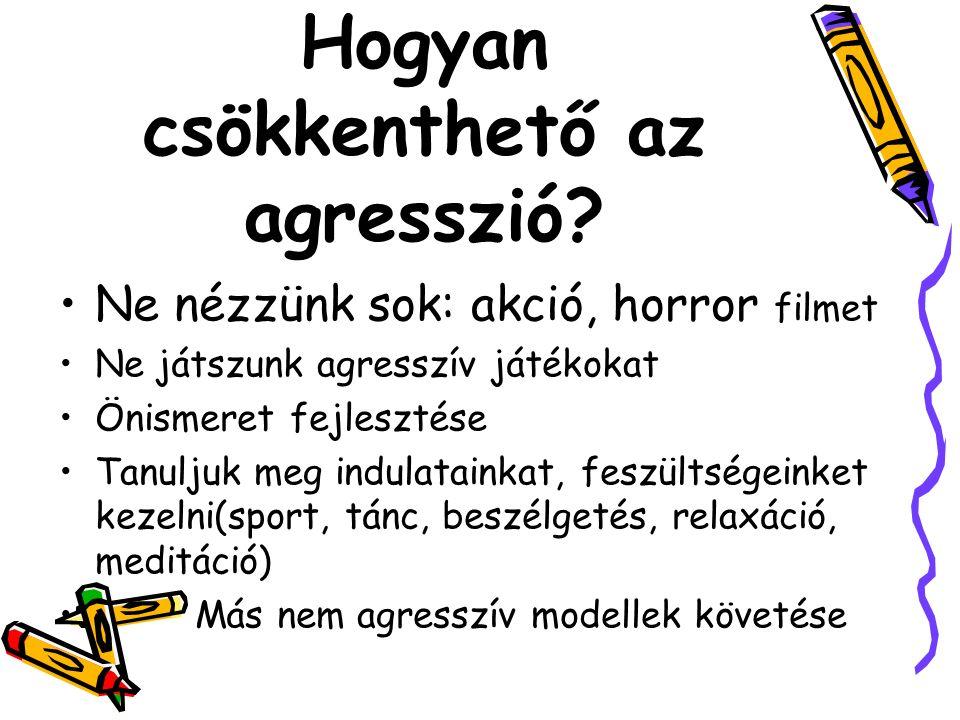 Hogyan csökkenthető az agresszió? Ne nézzünk sok: akció, horror filmet Ne játszunk agresszív játékokat Önismeret fejlesztése Tanuljuk meg indulatainka
