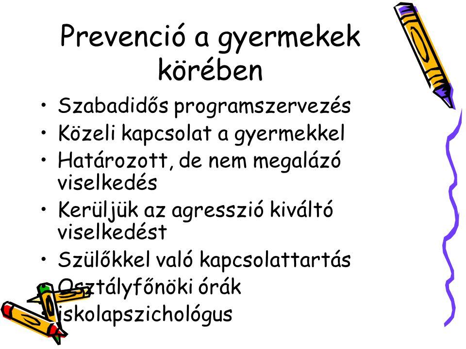 Prevenció a gyermekek körében Szabadidős programszervezés Közeli kapcsolat a gyermekkel Határozott, de nem megalázó viselkedés Kerüljük az agresszió k