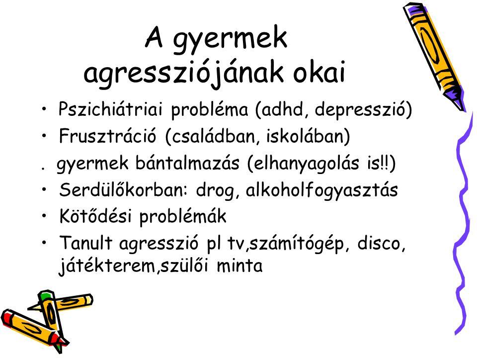A gyermek agressziójának okai Pszichiátriai probléma (adhd, depresszió) Frusztráció (családban, iskolában). gyermek bántalmazás (elhanyagolás is!!) Se
