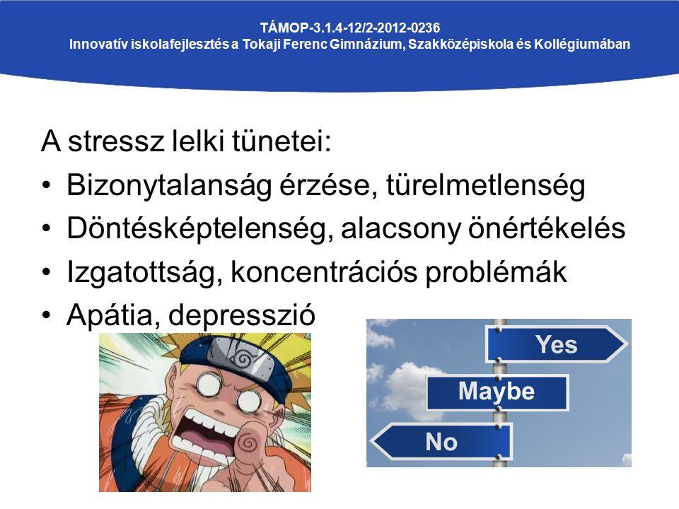 A stressz lelki tünetei: Bizonytalanság érzése, türelmetlenség Döntésképtelenség, alacsony önértékelés Izgatottság, koncentrációs problémák Apátia, depresszió TÁMOP-3.1.4-12/2-2012-0236 Innovatív iskolafejlesztés a Tokaji Ferenc Gimnázium, Szakközépiskola és Kollégiumában