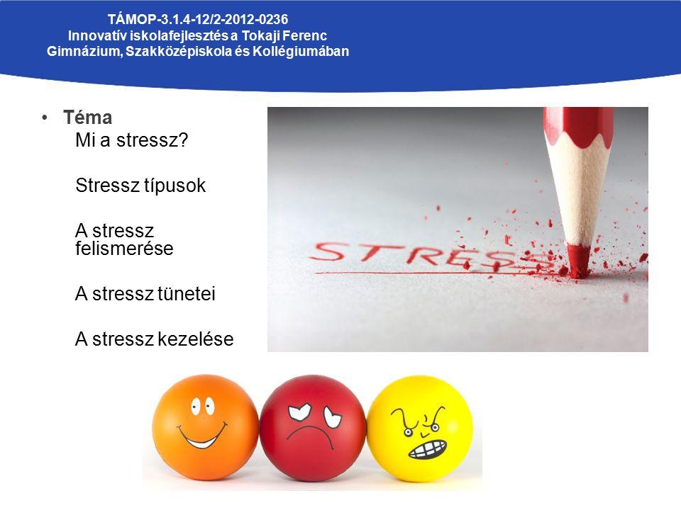 Téma Mi a stressz? Stressz típusok A stressz felismerése A stressz tünetei A stressz kezelése TÁMOP-3.1.4-12/2-2012-0236 Innovatív iskolafejlesztés a