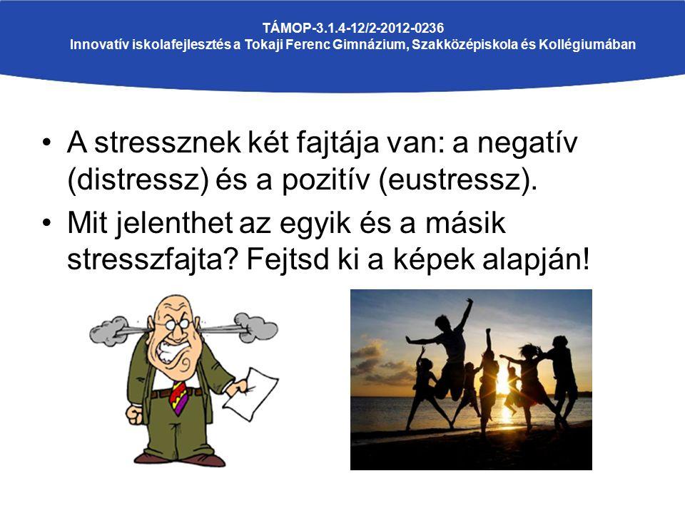 A stressznek két fajtája van: a negatív (distressz) és a pozitív (eustressz). Mit jelenthet az egyik és a másik stresszfajta? Fejtsd ki a képek alapjá