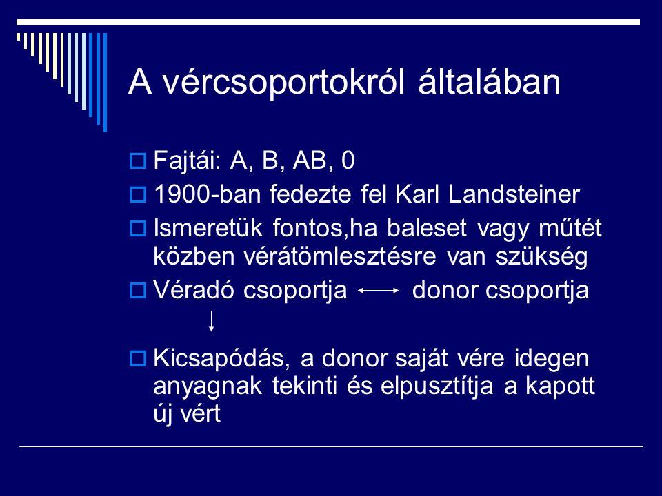 A vércsoportokról általában  Fajtái: A, B, AB, 0  1900-ban fedezte fel Karl Landsteiner  Ismeretük fontos,ha baleset vagy műtét közben vérátömlesztésre van szükség  Véradó csoportja donor csoportja  Kicsapódás, a donor saját vére idegen anyagnak tekinti és elpusztítja a kapott új vért