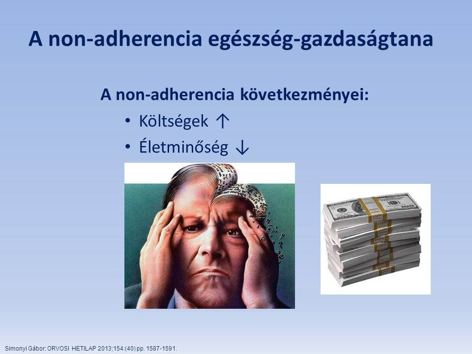 A non-adherencia egészség-gazdaságtana A non-adherencia következményei: Költségek ↑ Életminőség ↓ Simonyi Gábor: ORVOSI HETILAP 2013;154:(40) pp. 1587
