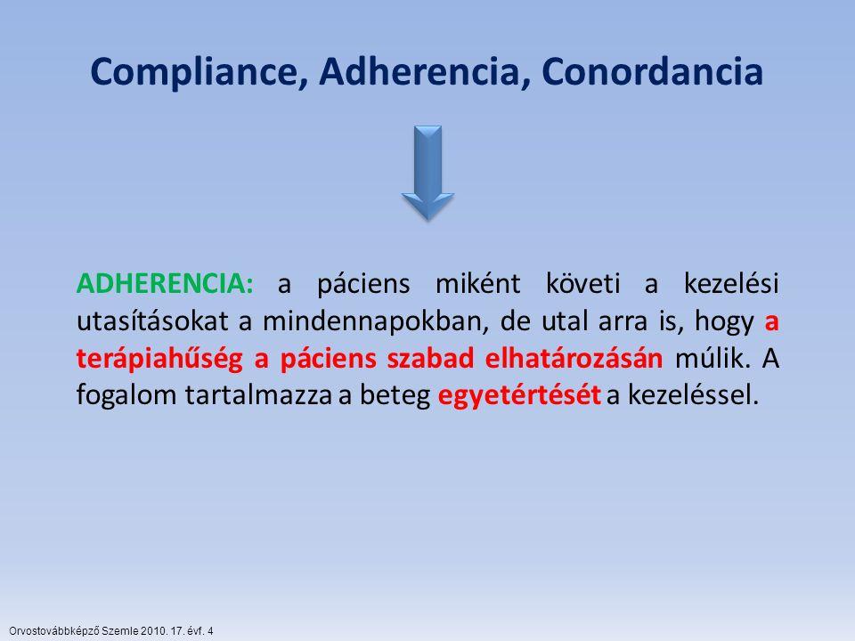 Compliance, Adherencia, Conordancia ADHERENCIA: a páciens miként követi a kezelési utasításokat a mindennapokban, de utal arra is, hogy a terápiahűség