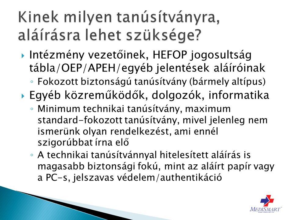  Intézmény vezetőinek, HEFOP jogosultság tábla/OEP/APEH/egyéb jelentések aláíróinak ◦ Fokozott biztonságú tanúsítvány (bármely altípus)  Egyéb közreműködők, dolgozók, informatika ◦ Minimum technikai tanúsítvány, maximum standard-fokozott tanúsítvány, mivel jelenleg nem ismerünk olyan rendelkezést, ami ennél szigorúbbat írna elő ◦ A technikai tanúsítvánnyal hitelesített aláírás is magasabb biztonsági fokú, mint az aláírt papír vagy a PC-s, jelszavas védelem/authentikáció