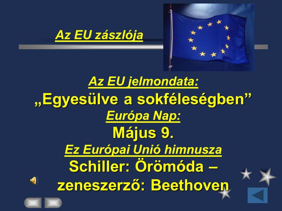 """Az EU zászlója """"Egyesülve a sokféleségben"""" Május 9. Schiller: Örömóda – zeneszerző: Beethoven Az EU jelmondata: """"Egyesülve a sokféleségben"""" Európa Nap"""
