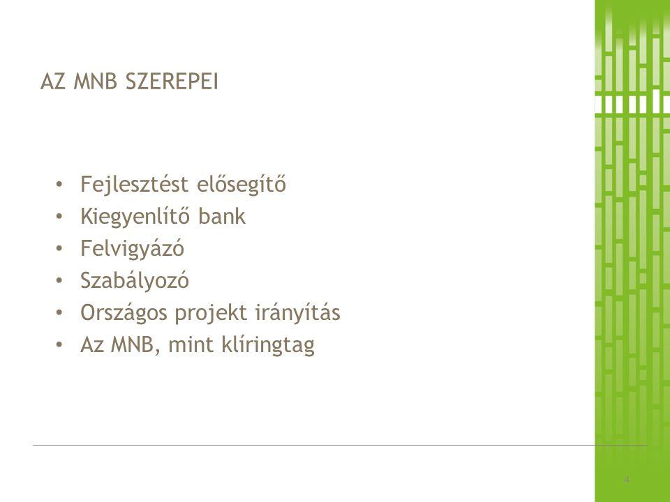 AZ MNB SZEREPEI 4 Fejlesztést elősegítő Kiegyenlítő bank Felvigyázó Szabályozó Országos projekt irányítás Az MNB, mint klíringtag