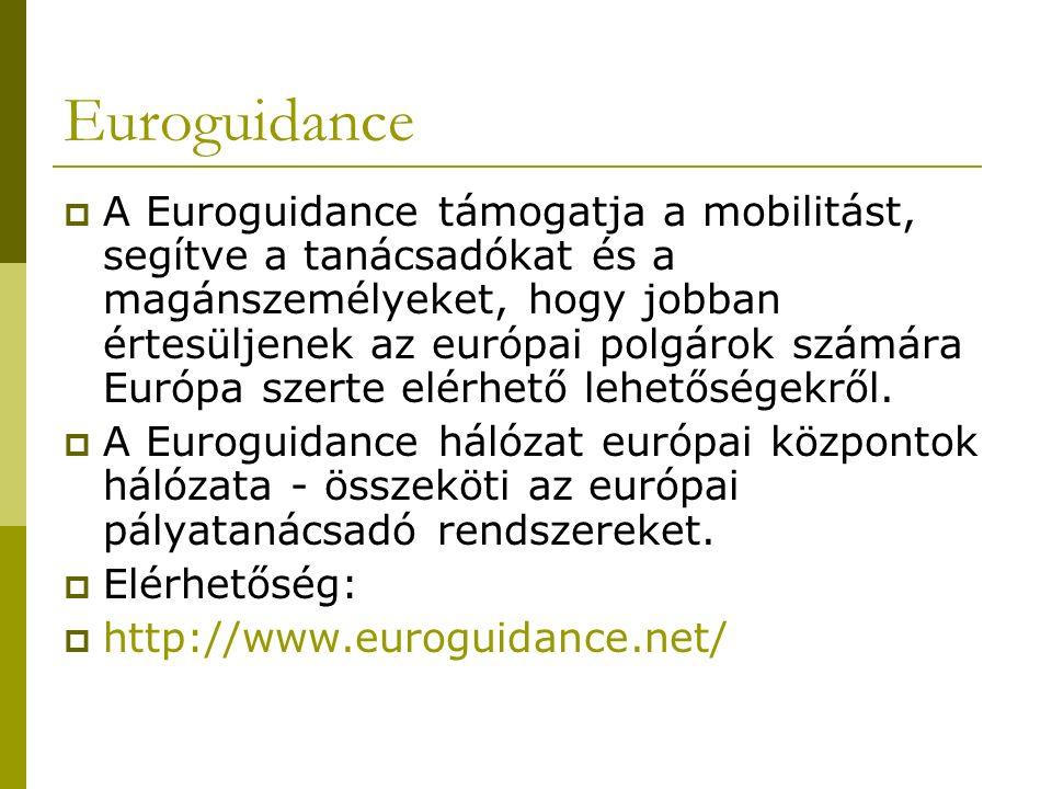 Euroguidance  A Euroguidance támogatja a mobilitást, segítve a tanácsadókat és a magánszemélyeket, hogy jobban értesüljenek az európai polgárok számára Európa szerte elérhető lehetőségekről.