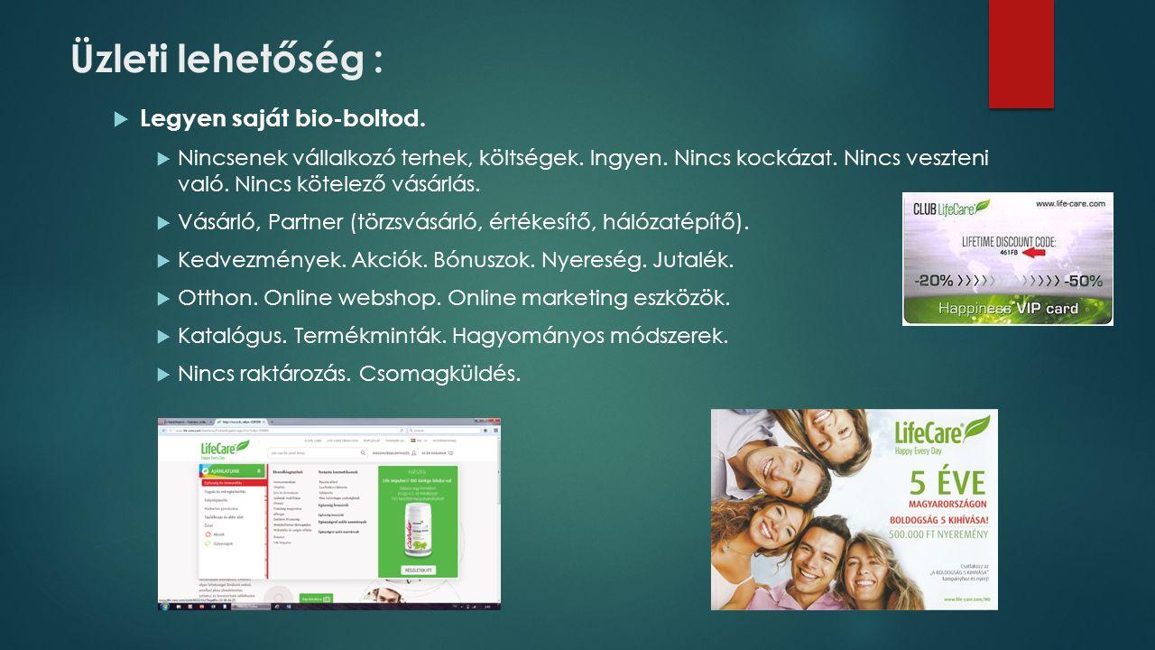 Üzleti lehetőség :  Legyen saját bio-boltod.  Nincsenek vállalkozó terhek, költségek.