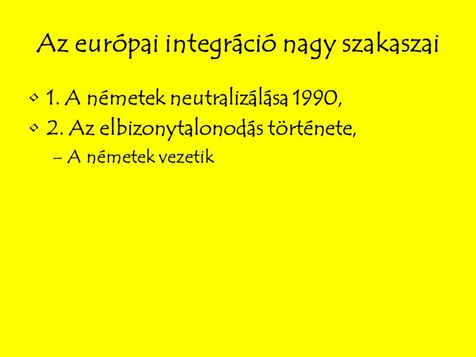 Az európai integráció nagy szakaszai 1. A németek neutralizálása 1990, 2.
